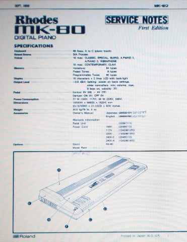 ROLAND RHODES MK-80 DIGITAL PIANO SERVICE NOTES FIRST EDITION INC SCHEMS AND PARTS LIST 34 PAGES ENG