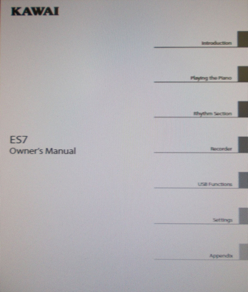 KAWAI ES7 DIGITAL PIANO OWNER'S MANUAL INC CONN DIAGS AND TRSHOOT GUIDE 140 PAGES ENG
