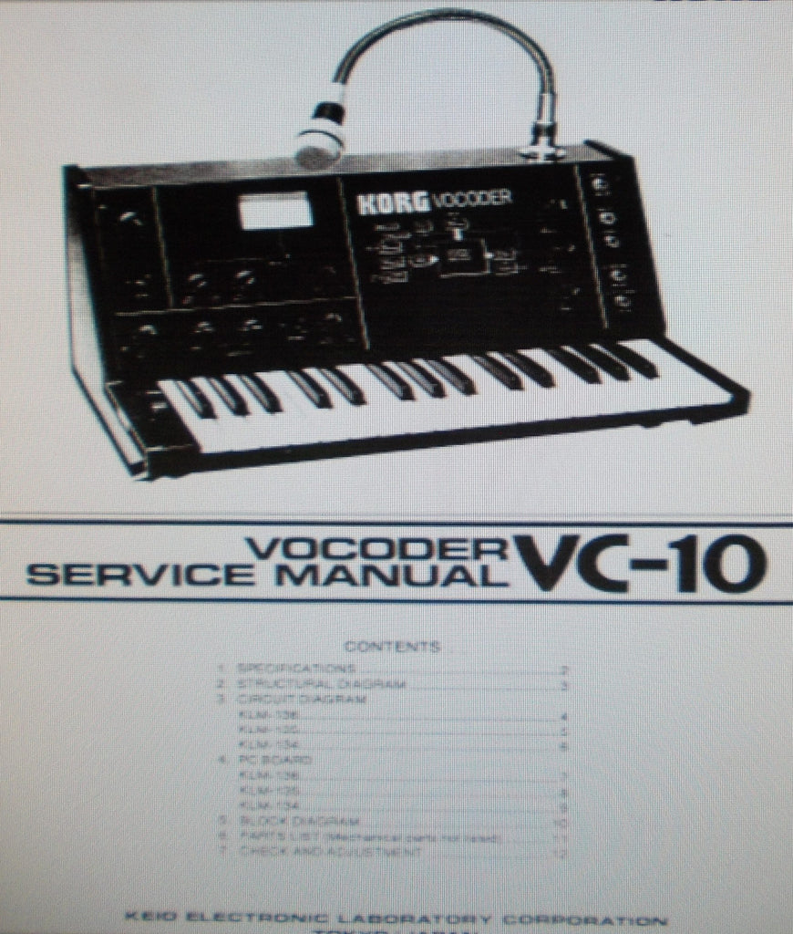 KORG VC-10 VOCODER SERVICE MANUAL INC BLK DIAG SCHEMS PCBS AND PARTS LIST 19 PAGES ENG