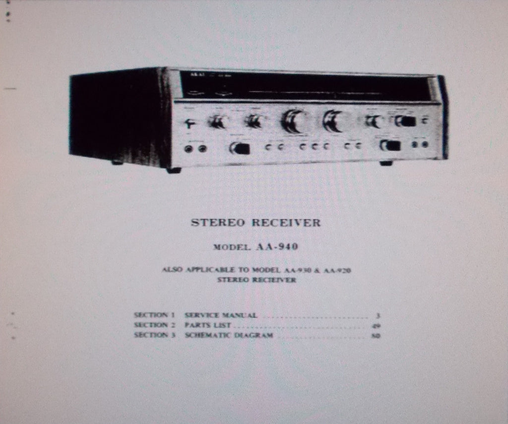 AKAI AA-920 AA-930 AA-940 STEREO RECEIVER SERVICE MANUAL INC SCHEMS PCBS AND PARTS LIST 79 PAGES ENG