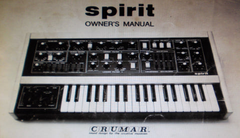 CRUMAR SPIRIT SYNTHESIZER OWNER'S MANUAL 30 PAGES ENG