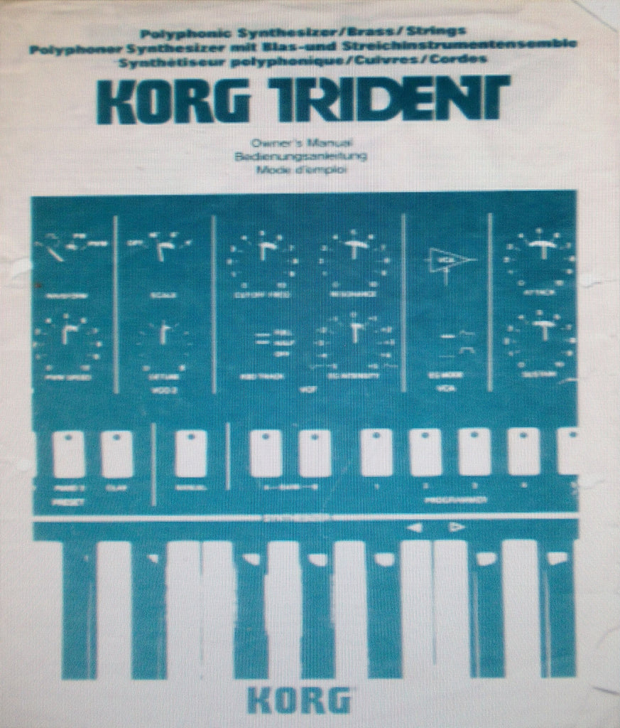 KORG TRIDENT POLYPHONIC SYNTHESIZER OWNER'S MANUAL INC CONN DIAG 67 PAGES ENG DEUT FRANC
