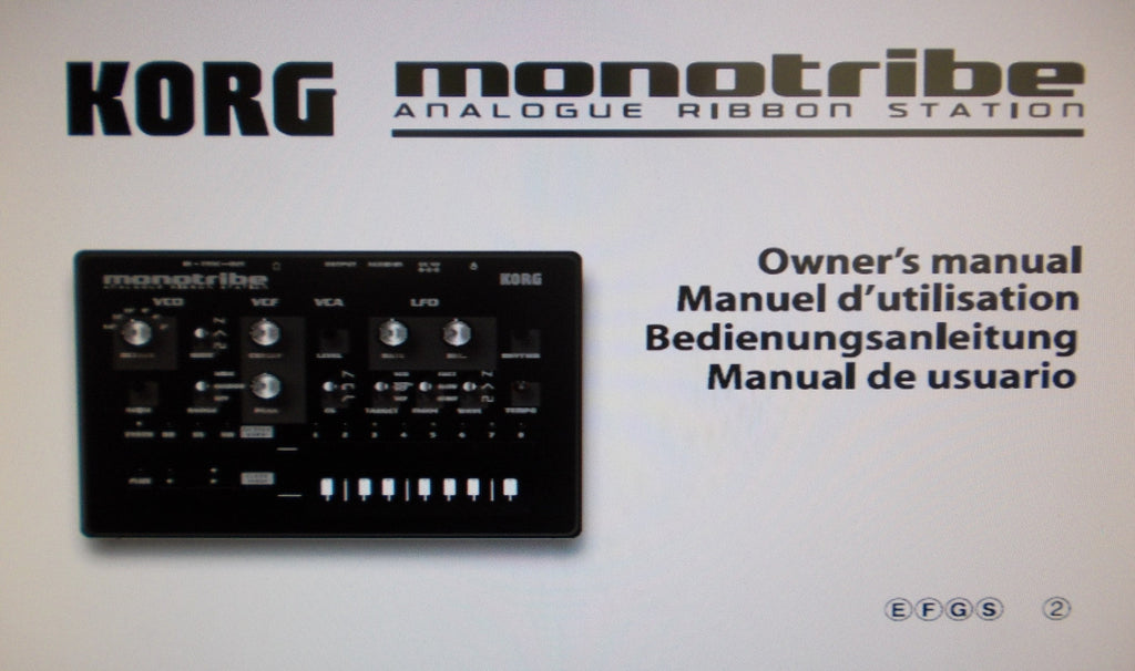 KORG MONOTRIBE ANALOGUE RIBBON STATION OWNER'S MANUAL INC BLK DIAG AND CONN DIAG 63 PAGES ENG FRANC DEUT ESP