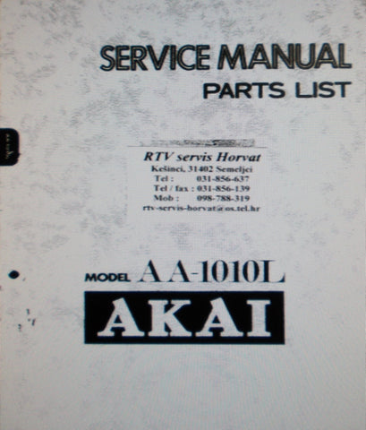 AKAI AA-1010L FM LW MW RECEIVER SERVICE MANUAL INC SCHEMS PCBS AND PARTS LIST 38 PAGES ENG