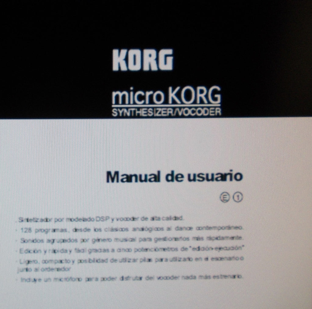 KORG MICROKORG SYNTHESIZER VOCODER MANUAL DE USUARIO INC RESOLUCION DE PROBLEMAS 79 PAGES ESP