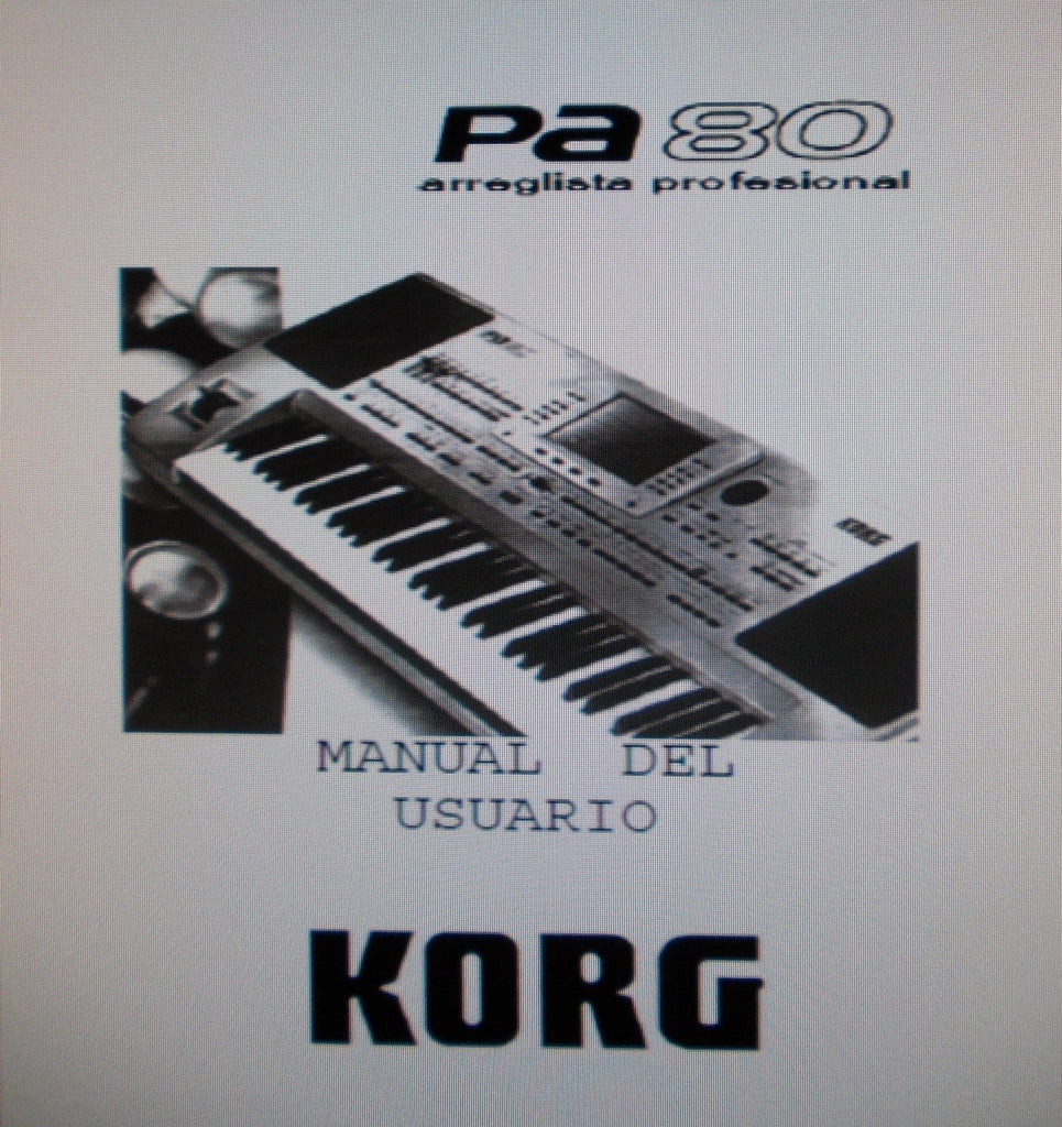 KORG Pa80 ARREGLISTA PROFESSIONAL MANUAL DEL USUARIO 26 PAGES ESP
