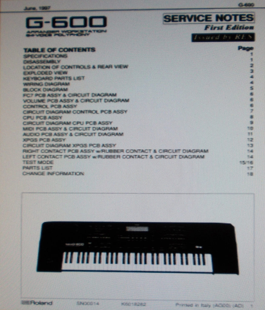 Roland G 600 Arranger Workstation 64 Voice Polyphony Service Notes Wiring Block First Edition Inc Blk Diag
