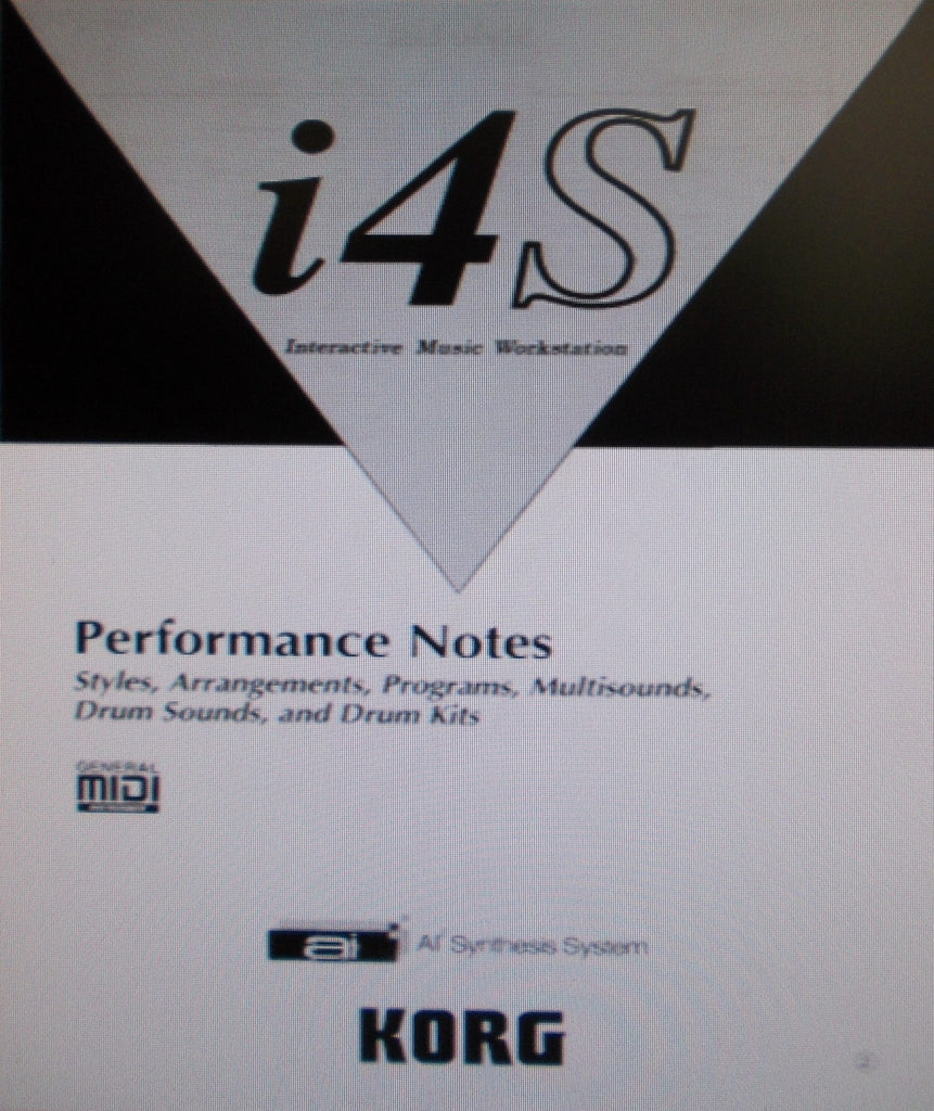 KORG i4S INTERACTIVE MUSIC WORKSTATION PERFORMANCE NOTES 16 PAGES ENG