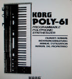 KORG POLY-61 PROGRAMMABLE POLYPHONIC SYNTHESIZER OWNER'S MANUAL 109 PAGES ENG DEUT FRANC ESP