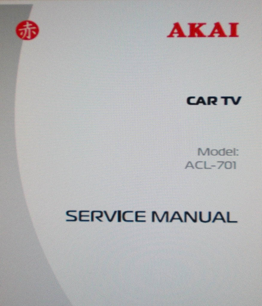 AKAI ACL-701 CAR TV SERVICE MANUAL INC SERVICING MAP AND COL SCHEM DIAG 6 PAGES ENG