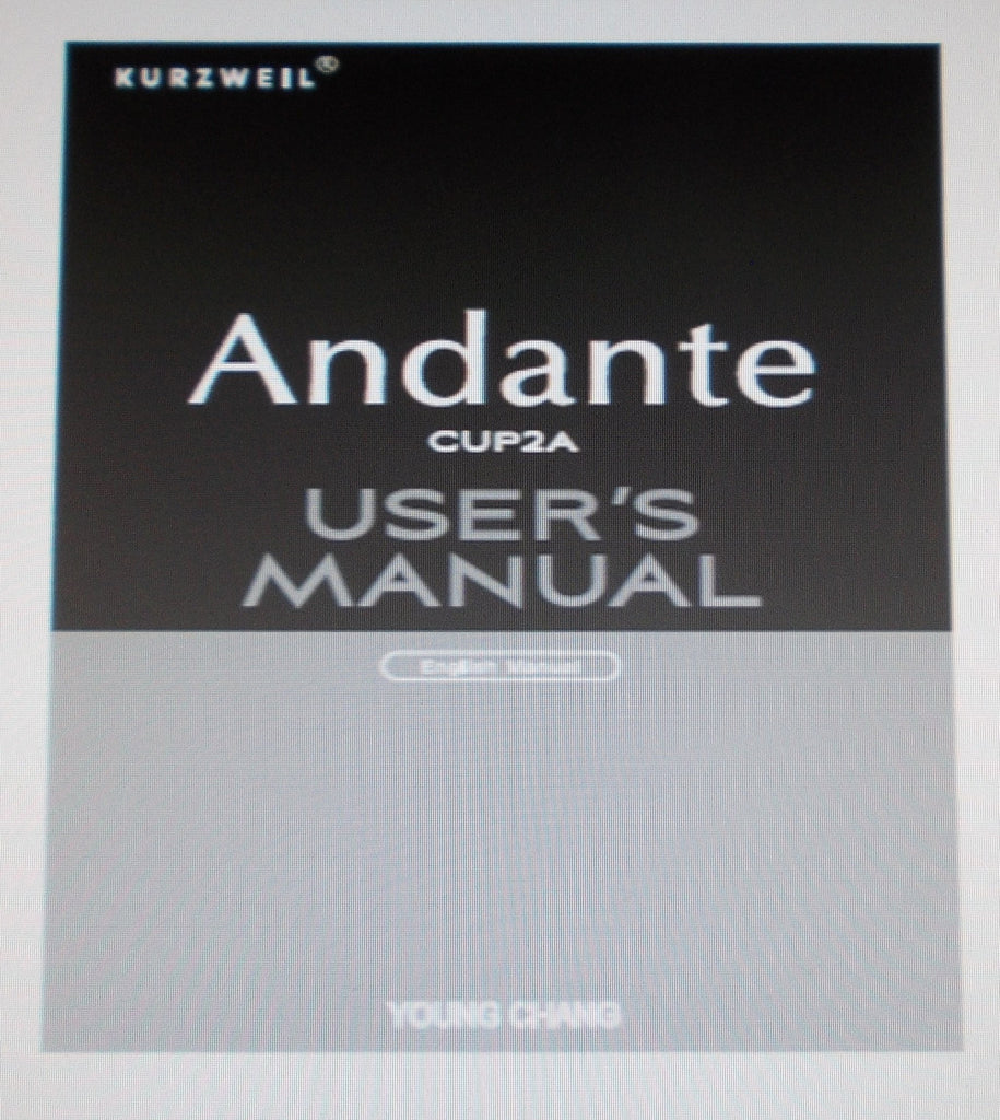 KURZWEIL ANDANTE CUP2A DIGITAL PIANO USER'S MANUAL 26 PAGES ENG