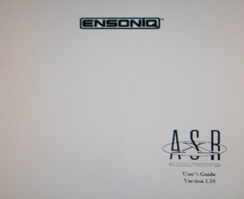 ENSONIQ ASR-X SAMPLER RESAMPLER USER'S GUIDE VER 1.10 30 PAGES ENG