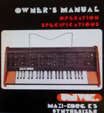 KORG 800DV MAXI KORG K-3 SYNTHESIZER OPERATION OWNER'S MANUAL INC CONN DIAGS 6 PAGES ENG
