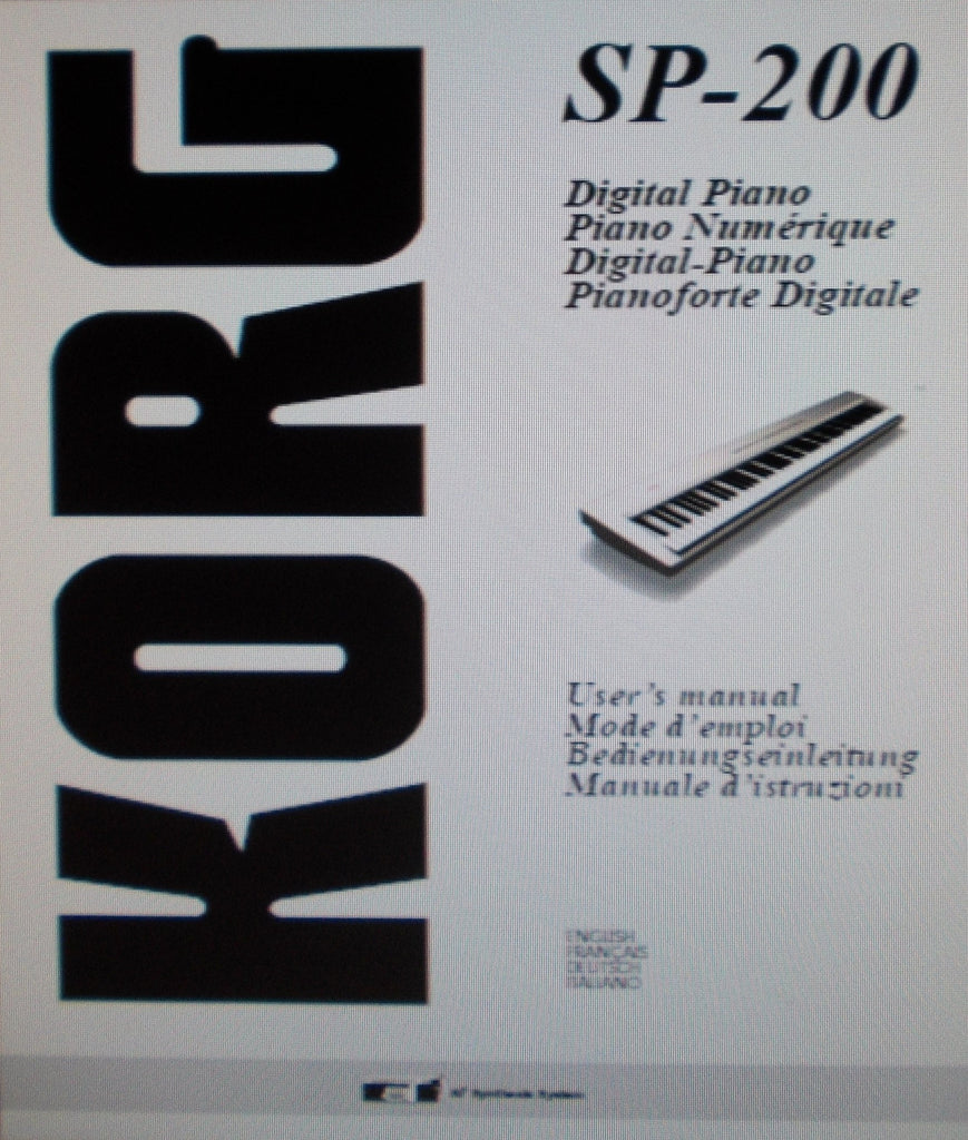 KORG SP-200 DIGITAL PIANO OWNER'S MANUAL INC TRSHOOT GUIDE 142 PAGES ENG FRANC DEUT ITAL