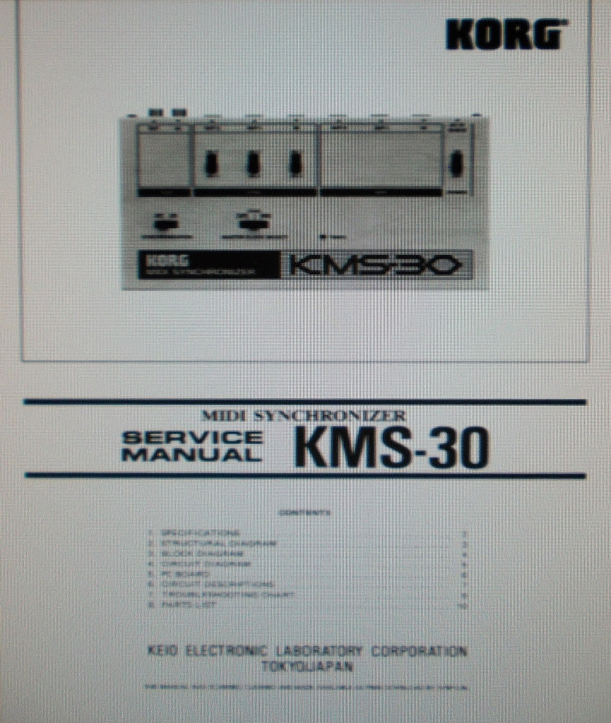 KORG KMS-30 MIDI SYNCHRONIZER SERVICE MANUAL INC BLK DIAG SCHEM DIAG PCB AND PARTS LIST PLUS TRSHOOT GUIDE 12 PAGES ENG