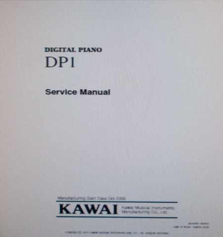 KAWAI DP1 DIGITAL PIANO SERVICE MANUAL INC BLK DIAG SCHEMS PCBS AND PARTS LIST 76 PAGES ENG