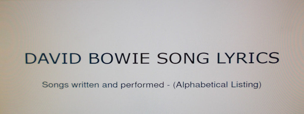 DAVID BOWIE SONG LYRICS 529 PAGES ENG