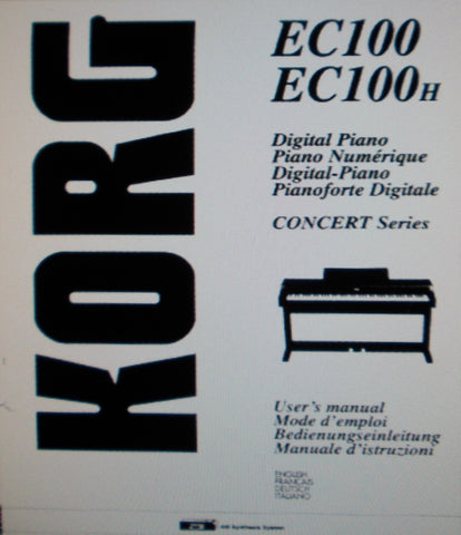 KORG EC100 EC100h CONCERT SERIES DIGITAL PIANO USER'S MANUAL INC TRSHOOT GUIDE 62 PAGES ENG FRANC DEUT ITAL