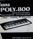 KORG POLY-800 PROGRAMMABLE POLYPHONIC SYNTHESIZER OWNER'S MANUAL PROM-UPDATE 41 PAGES ENG 1984