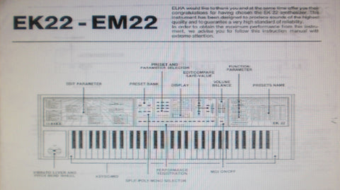 ELKA EK-22 EM-22 SYNTHESIZER INSTRUCTION MANUAL INC CONN DIAGS 16 PAGES ENG
