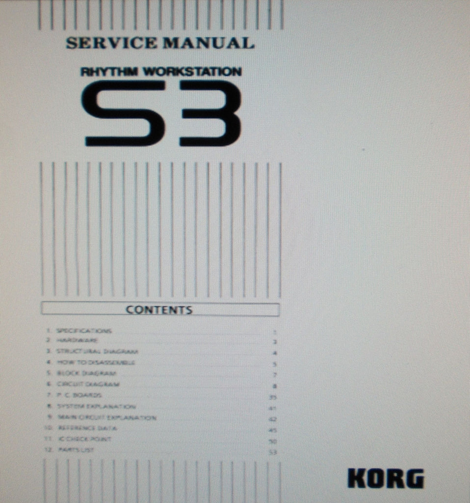 KORG S3 RHYTHM WORKSTATION SERVICE MANUAL INC BLK DIAG SCHEMS PCBS AND PARTS LIST 58 PAGES ENG