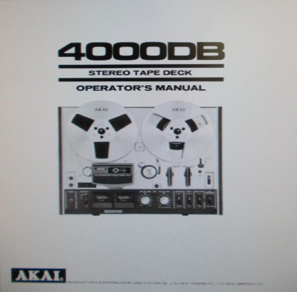 AKAI 4000DB STEREO TAPE DECK OPERATOR'S MANUAL INC CONN DIAG 14 PAGES ENG