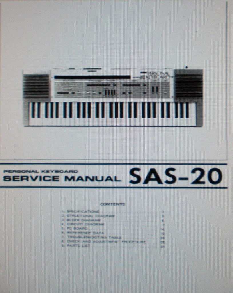 KORG SAS-20 PERSONAL KEYBOARD SERVICE MANUAL INC BLK DIAGS SCHEMS PCBS PARTS LIST AND TRSHOOT GUIDE 29 PAGES ENG