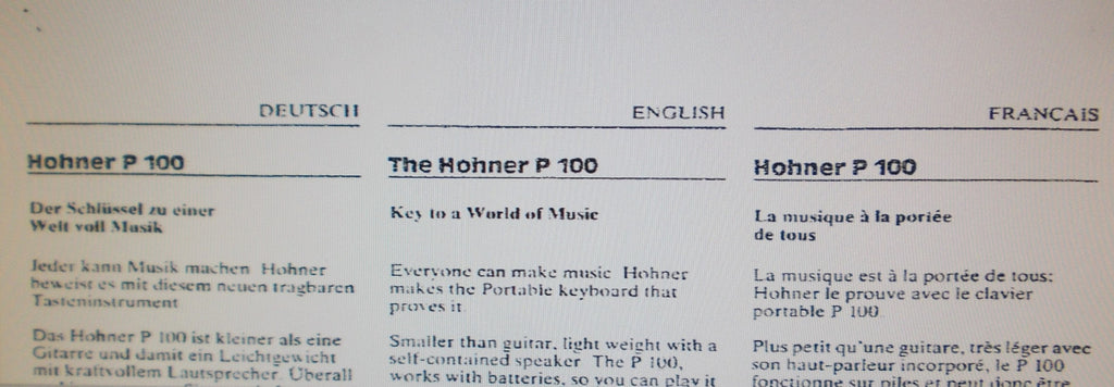 HOHNER P100 PORTABLE KEYBOARD OWNER'S MANUAL 4 PAGES ENG DEUT FRANC