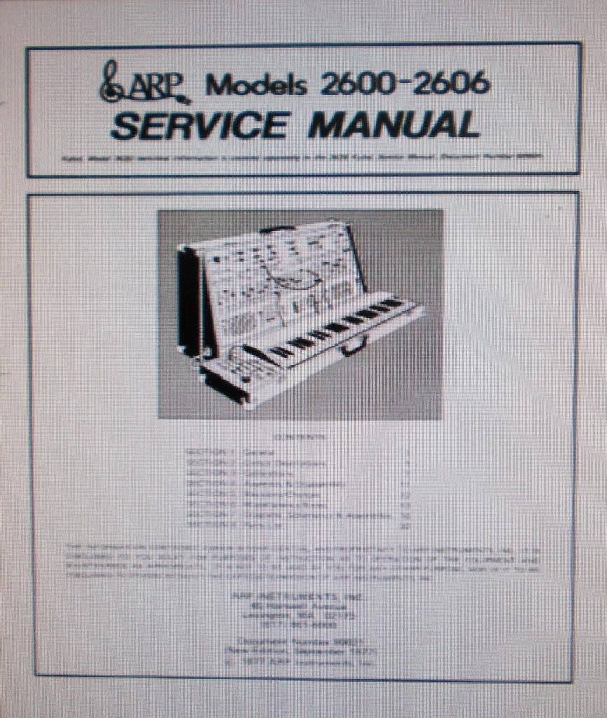 ARP 2600 -2606 SYNTHESIZER SERVICE MANUAL INC BLK DIAGS SCHEMS PCBS AND PARTS LIST 53 PAGES ENG