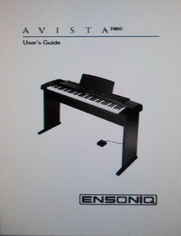 ENSONIQ AVISTA 7600 KEYBOARD USER'S GUIDE 32 PAGES ENG