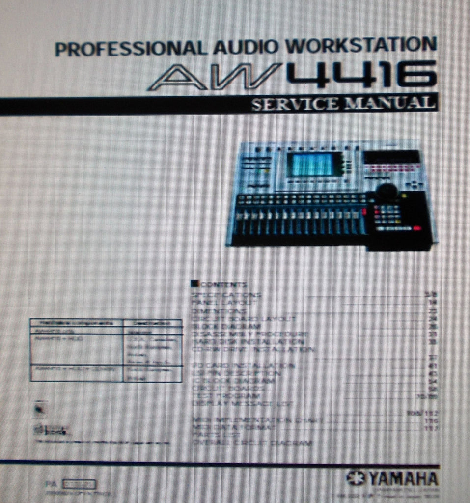YAMAHA AW4416 PRO AUDIO WORKSTATION SERVICE MANUAL INC BLK DIAGS SCHEMS PCBS AND PARTS LIST 156 PAGES ENG