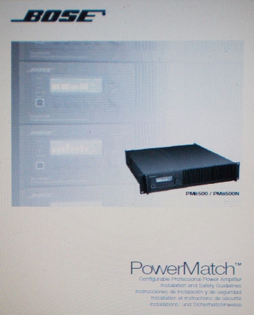 BOSE PM8500 PM8500N POWERMATCH CONFIGURABLE PROFESSIONAL POWER AMP INSTALLATION AND SAFETY GUIDELINES INC CONN DIAG 20 PAGES ENG