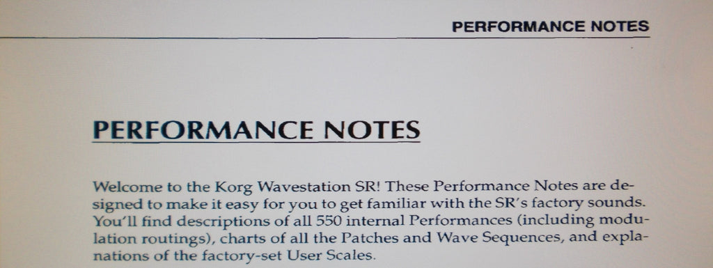 KORG WAVESTATION SR PERFORMANCE NOTES 22 PAGES ENG