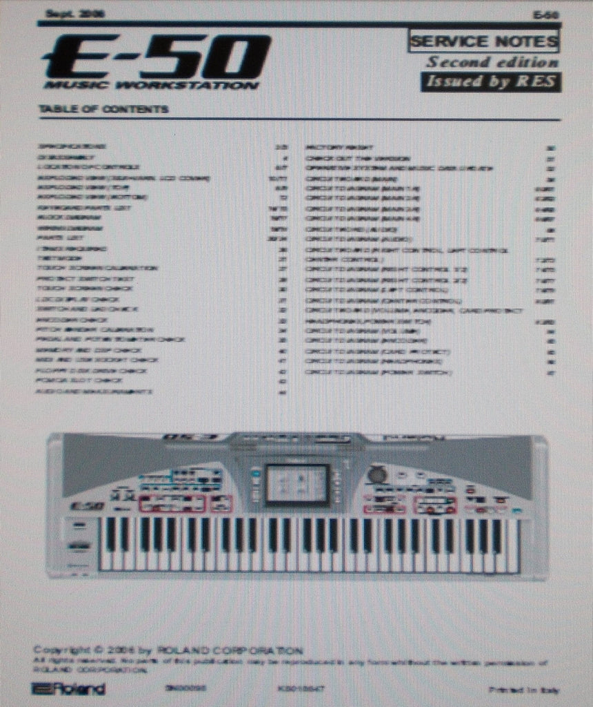 ROLAND E-50 MUSIC WORKSTATION SERVICE NOTES SECOND EDITION INC BLK DIAG WIRING DIAG SCHEMS PCBS AND PARTS LIST 71 PAGES ENG