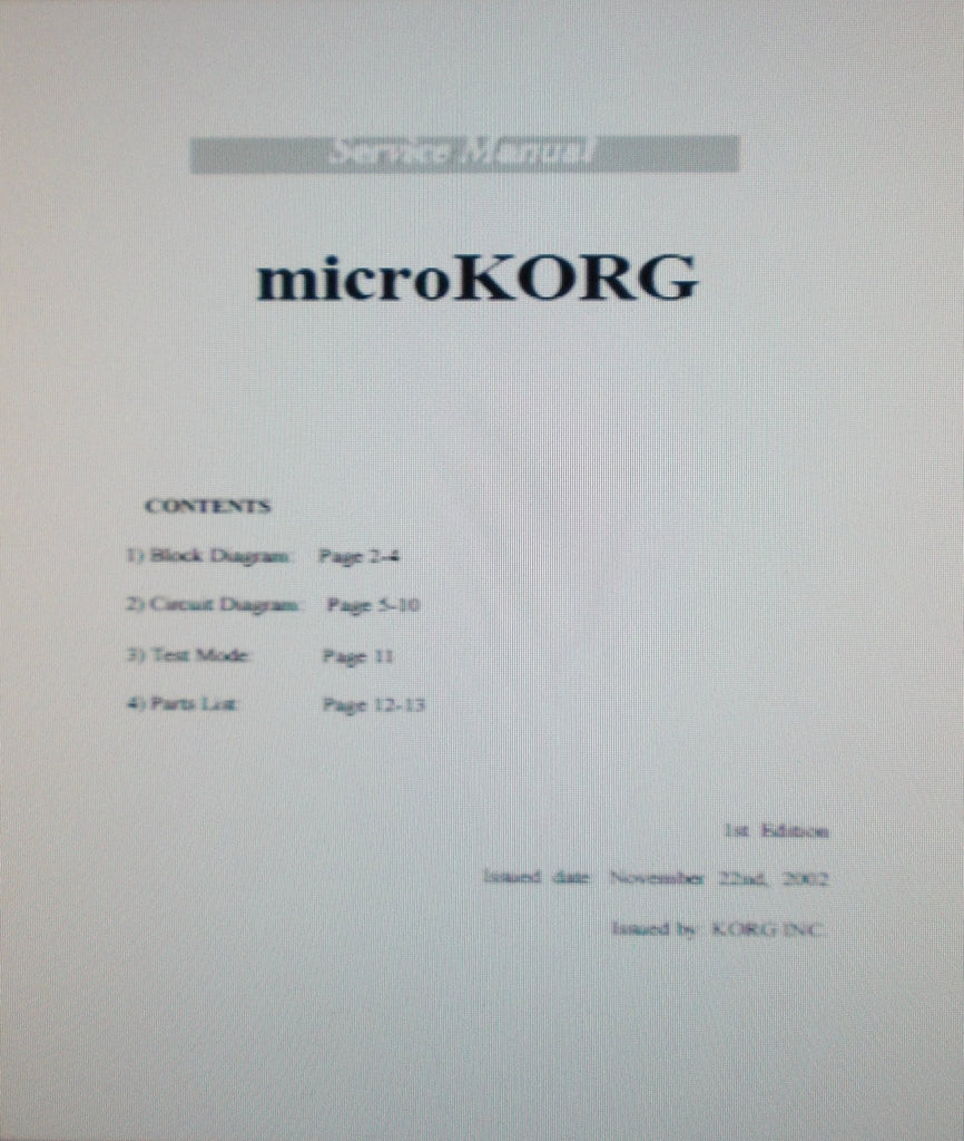 KORG MICROKORG X-1110 37 KEY CUSTOM MINI KEYBOARD SERVICE MANUAL 1ST EDITION INC BLK DIAG SCHEMS AND PARTS LIST 13 PAGES ENG