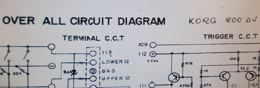 KORG 800DV SYNTHESIZER OVER ALL CIRCUIT DIAGRAM 1 PAGE ENG