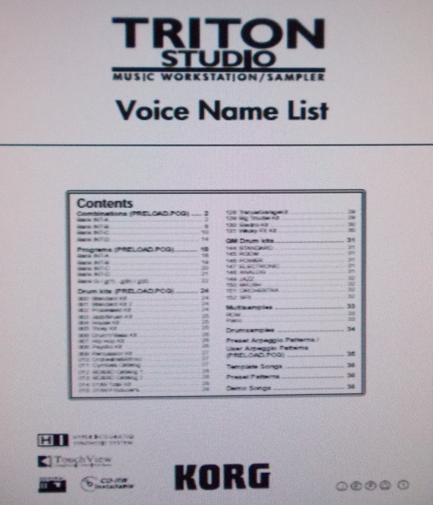 KORG TRITON STUDIO MUSIC WORKSTATION SAMPLER VOICE NAME LIST 36 PAGES ENG
