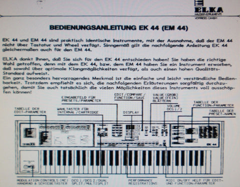 ELKA EK-44 EM-44 SYNTHESIZER HANDLEIDING BEDIENUNGSANLEITUNG INC CONN DIAGS 28 PAGES DEUT