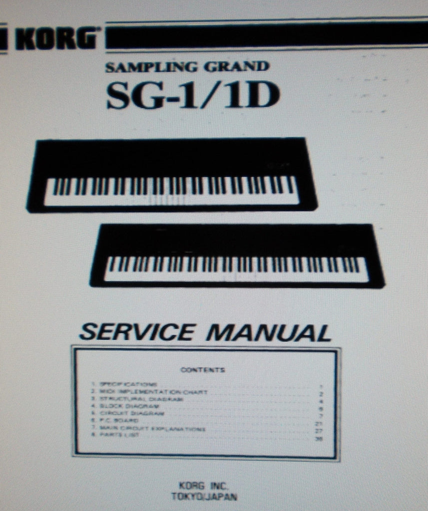 KORG SG-1 SG-1D SAMPLING GRAND SERVICE MANUAL INC BLK DIAG SCHEMS PCBS AND PARTS LIST 40 PAGES ENG
