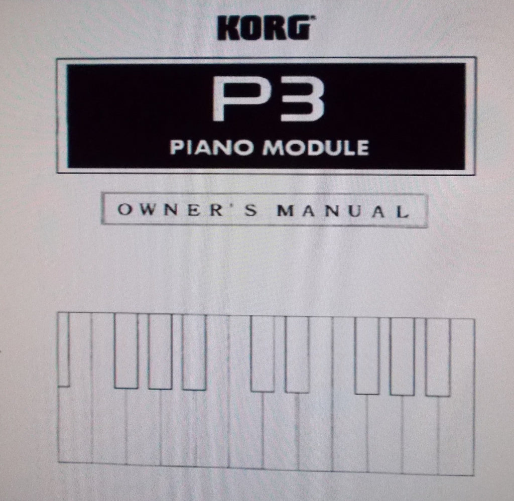 KORG P3 PIANO MODULE OWNER'S MANUAL INC CONN DIAGS AND TRSHOOT GUIDE 32 PAGES ENG