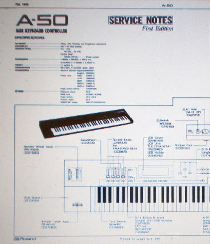 ROLAND A-50 MIDI KEYBOARD CONTROLLER SERVICE NOTES FIRST EDITION INC SCHEMS AND PARTS LIST 20 PAGES ENG