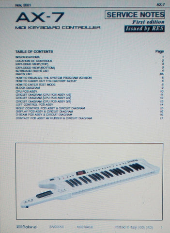 ROLAND AX-7 MIDI KEYBOARD CONTROLLER SERVICE NOTES FIRST EDITION INC SCHEMS AND PARTS LIST 17 PAGES ENG