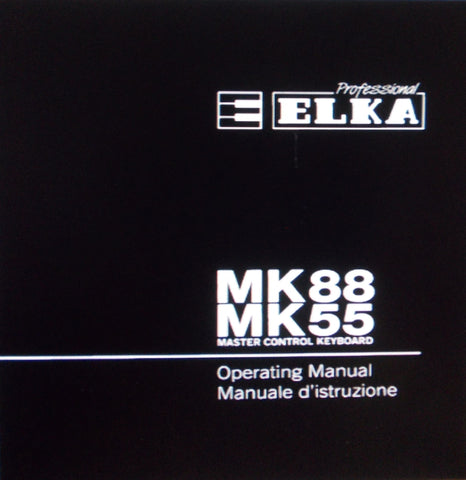 ELKA MK55 MK88 MASTER CONTROL KEYBOARD OPERATING MANUAL 27 PAGES ENG