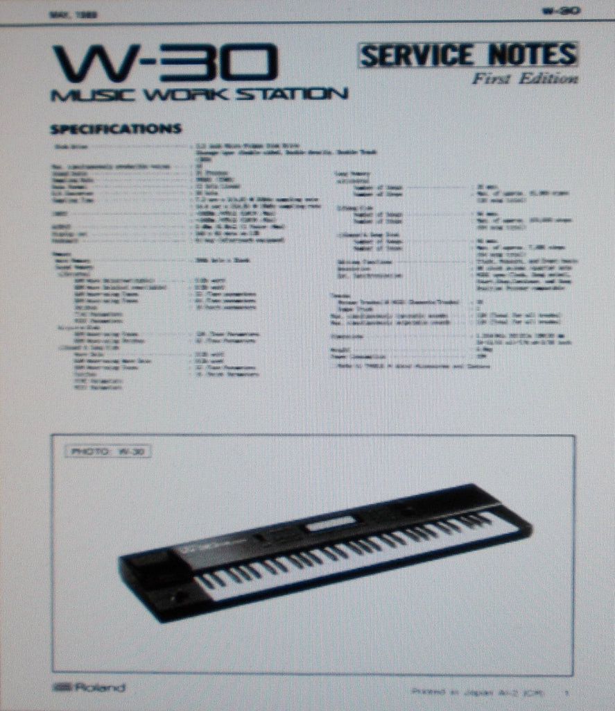 ROLAND W-30 MUSIC WORKSTATION SERVICE NOTES FIRST EDITION INC BLK DIAGS SCHEMS PCBS PARTS LIST AND TRSHOOT GUIDE 20 PAGES ENG