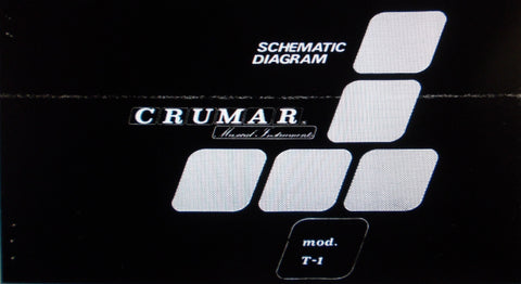 CRUMAR ORGANIZER T-1 POLYPHONIC ORGAN SET OF SCHEMATIC DIAGRAMS 13 PAGES ENG