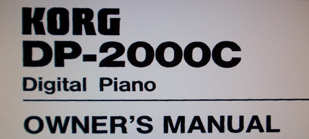 KORG DP-2000C DIGITAL PIANO OWNER'S MANUAL 22 PAGES ENG