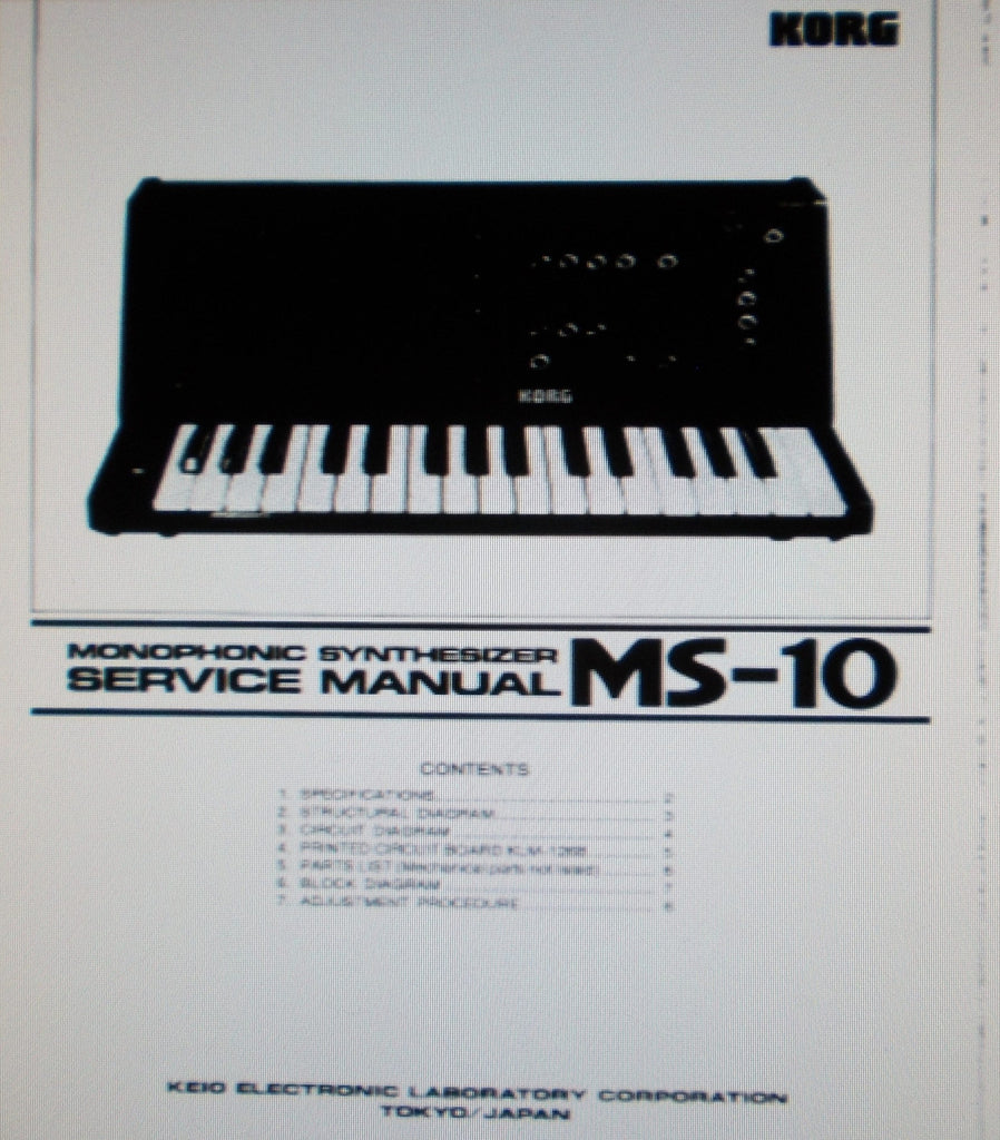 KORG MS-10 MONOPHONIC SYNTHESIZER SERVICE MANUAL INC BLK DIAG SCHEMS PCBS AND PARTS LIST 11 PAGES ENG