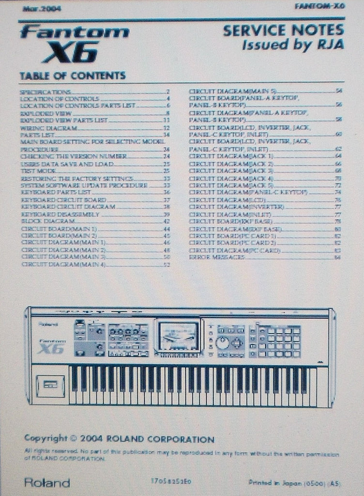 ROLAND FANTOM X6 SERVICE NOTES INC SCHEMS AND PARTS LIST 66 PAGES ENG
