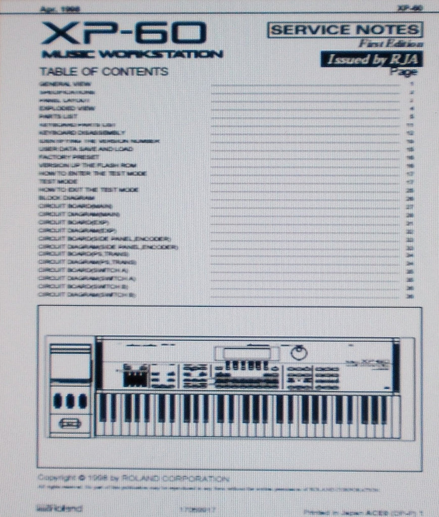 ROLAND XP-60 MUSIC WORKSTATION SERVICE NOTES FIRST EDITION INC BLK DIAG SCHEMS PCBS AND PARTS LIST 36 PAGES ENG