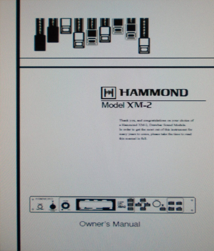 HAMMOND XM-2 DRAWBAR SOUND MODULE OWNER'S MANUAL 90 PAGES ENG